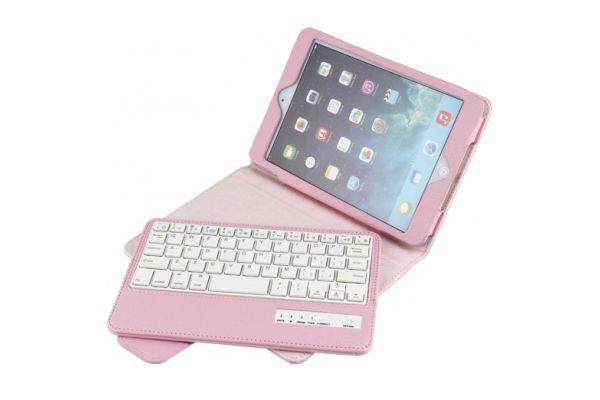 iPad Mini 1-2-3 Luxe hoes met uitneembaar Bluetooth toetsenbord Roze