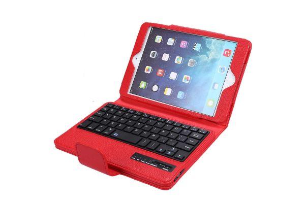 iPad MINI 1-2-3 Luxe hoes met uitneembaar Bluetooth Toetsenbord Rood