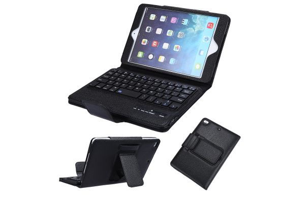 Tablet Luxe hoes iPad Mini 4 met draadloos toetsenbord Zwart