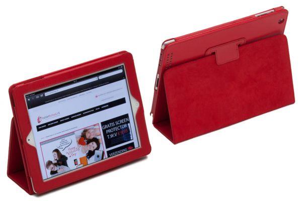 iPad 2-3-4 PU Leren Book Cover Rood