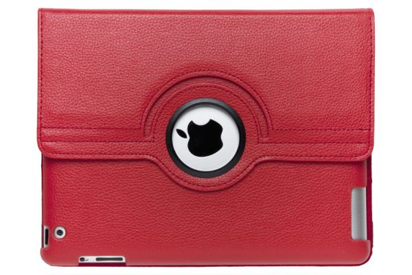 iPad 2-3-4 PU Leren Draaibare Hoes Rood