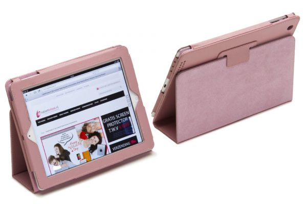 iPad 2-3-4 PU Leren Book Cover Roze
