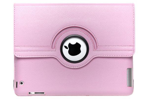 iPad 2-3-4 PU Leren Draaibare Hoes Roze