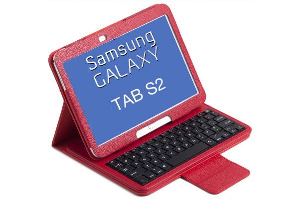 Tablet Luxe hoes met toetsenbord Samsung Tab-S2 T710 T713 T715 T719 8.0 inch rood