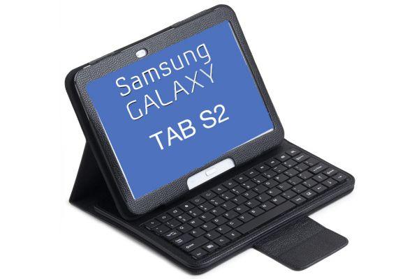 Tablet Luxe hoes met toetsenbord Samsung Tab-S2 T710 T713 T715 T719 8.0 inch Zwart
