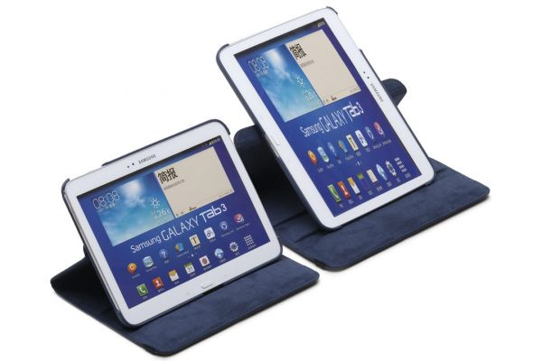 Samsung Galaxy Tab 3 (10.1) P5210 Leer Draaibare Hoes donker blauw