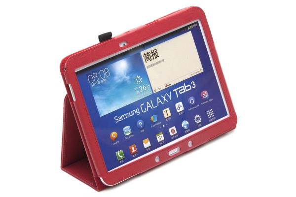 Samsung Galaxy Tab 3- 10.1- Leren Book Cover Rood