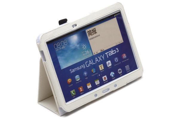 Samsung Galaxy Tab 3- 10.1- P5210 Leren Book Cover Wit