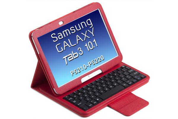 Tablethoes Samsung Tab3 P5210 10.1 uitneembaar Bluetooth Toetsenbord Rood P5200