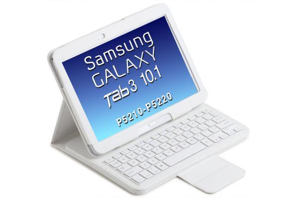 Tablethoes Samsung Tab3 P5210 10.1 uitneembaar Bluetooth Toetsenbord Wit P5200