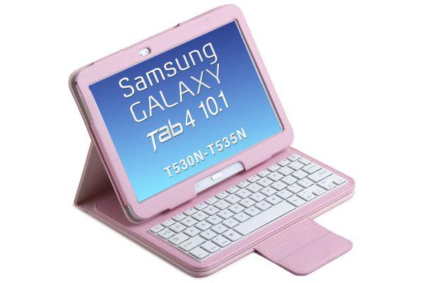 Samsung Galaxy Tab 4 10.1 Luxe hoes met uitneembaar toetsenbord Roze