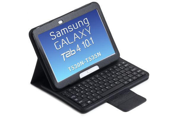 Samsung Galaxy Tab 4 10.1 Luxe hoes met uitneembaar toetsenbord Zwart