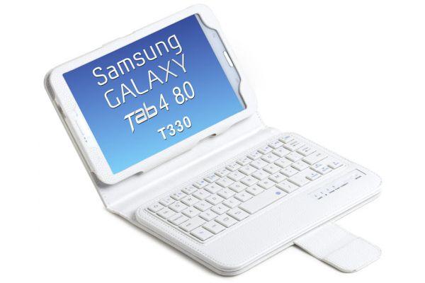 Samsung Galaxy Tab 4 8.0 Luxe Tablethoes+toetsenbord (harde toetsen) Wit