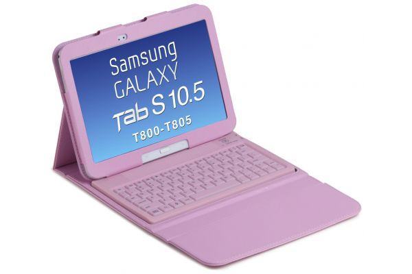 Samsung Galaxy TabS T800-T805 10.5 Hoes+ Toetsenbord (siliconen) Roze