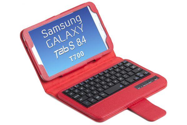 Samsung TabS T700 8.4 Luxe hoes + Toetsenbord (harde toetsen) Rood
