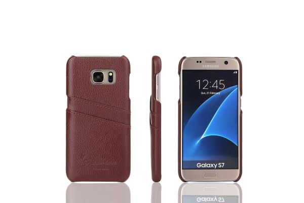 Samsung Galaxy S7 echt lederen back cover / wallet bruin