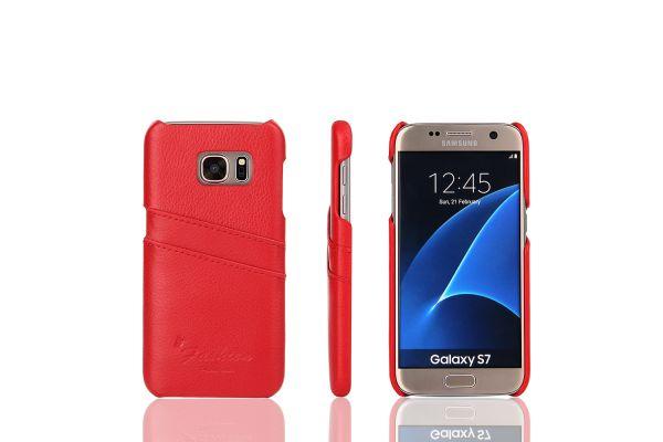 Samsung Galaxy S7 echt lederen back cover / wallet rood