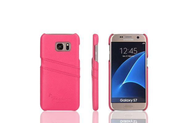 Samsung Galaxy S7 echt lederen back cover / wallet roze