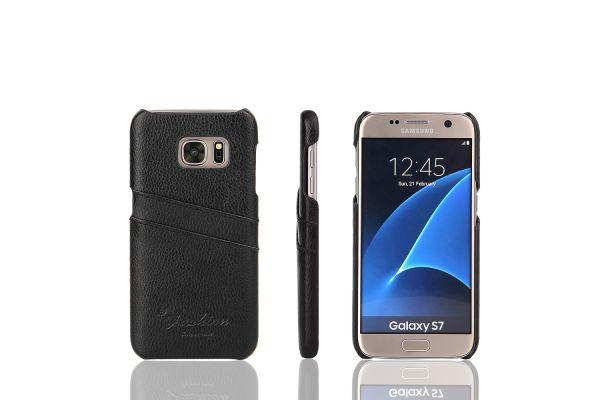 Samsung Galaxy S7 echt lederen back cover / wallet zwart