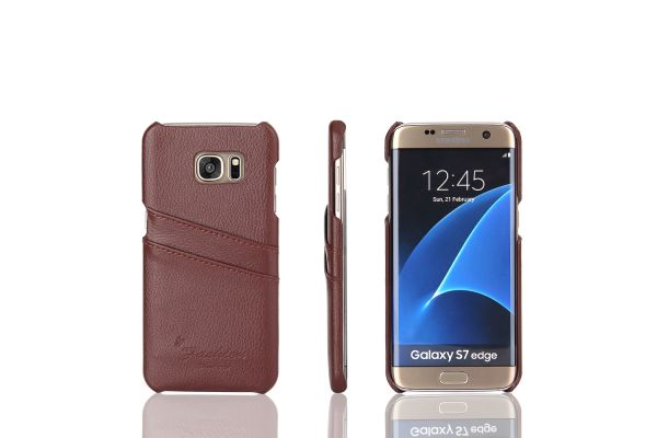 Samsung Galaxy S7 edge echt lederen back cover / wallet bruin merk Fashion