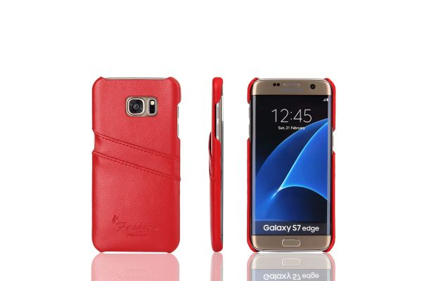 Samsung Galaxy S7 edge echt lederen back cover / wallet rood