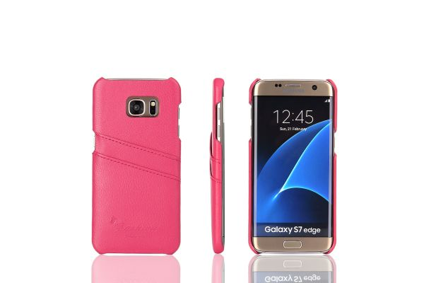 Samsung Galaxy S7 edge echt lederen back cover / wallet roze