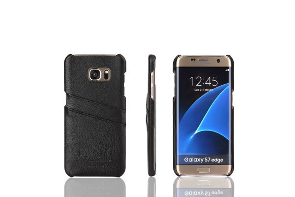 Samsung Galaxy S7 edge echt lederen back cover / wallet zwart