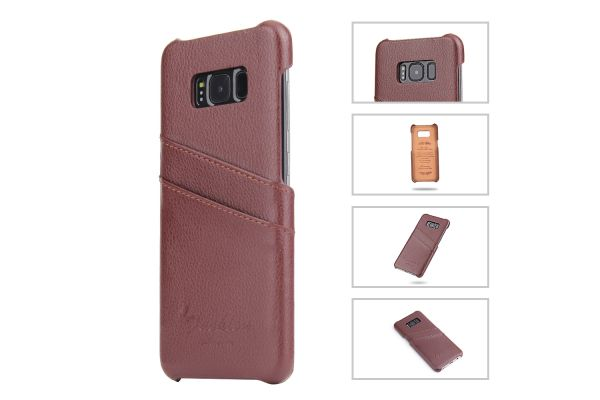 Samsung Galaxy S8 echt lederen back cover / wallet bruin merk Fashion