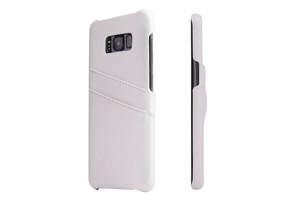 Samsung Galaxy S8 echt lederen back cover / wallet wit merk Fashion