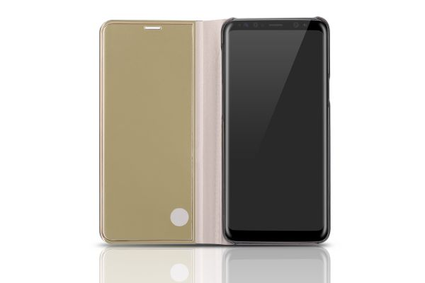 Samsung Galaxy S9 Plus Clear View mirror case Goud