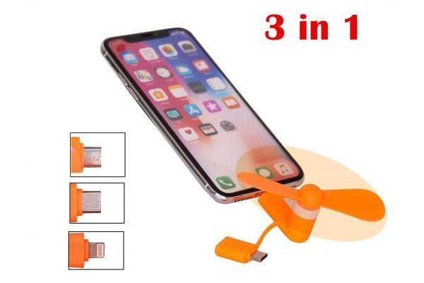 Smartphone ventilator Micro-USB / Lightning - Type C - Oranje