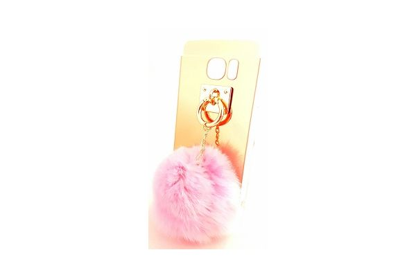Samsung S7 spiegel hoesje goud met bont licht roze