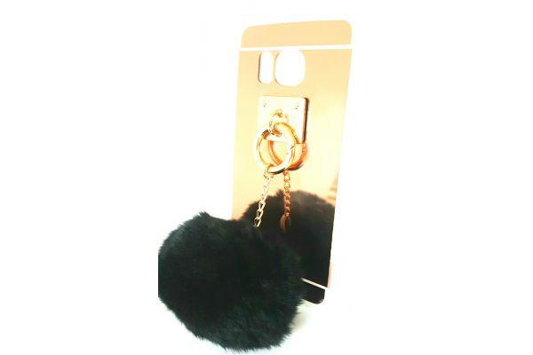 Samsung S7 edge spiegel hoesje goud met bont zwart