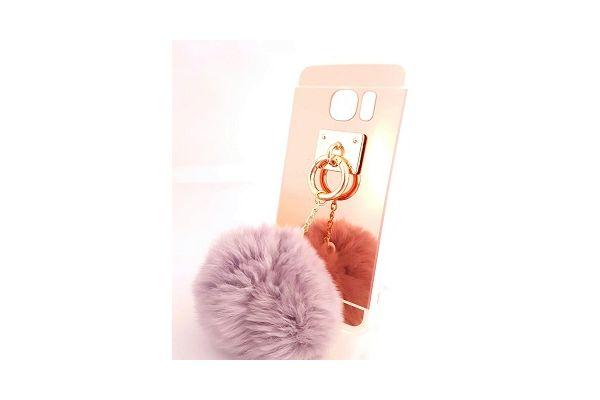 Samsung S7 edge spiegel hoesje rose goud met bont grijs