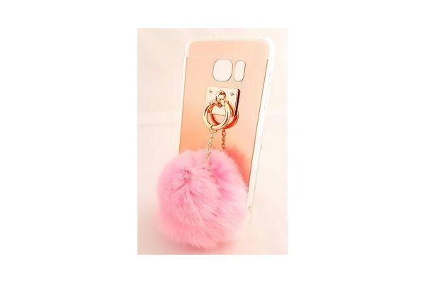 Samsung S7 edge spiegel hoesje rose goud met bont licht roze