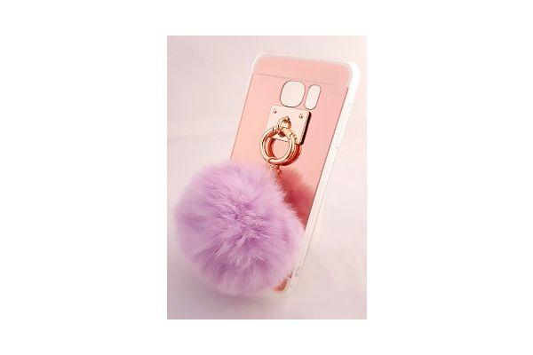 Samsung S7 edge spiegel hoesje rose goud met bont paars