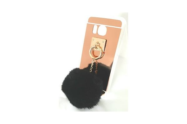 Samsung S7 edge spiegel hoesje rose goud met bont zwart