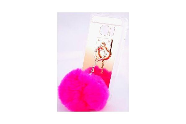 Samsung S7 edge spiegel hoesje zilver met bont diep roze