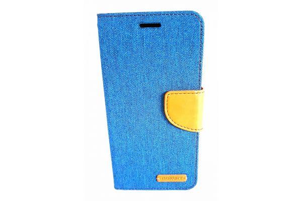 Samsung Galaxy S7 Edge spijkerstof portemonnee hoes met ruimte voor pasjes en brief geld blauw