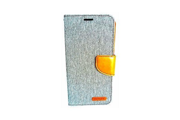 Samsung Galaxy S7 Edge spijkerstof portemonnee hoes met ruimte voor pasjes en brief geld grijs