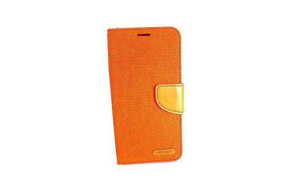 Samsung Galaxy S7 Edge spijkerstof portemonnee hoes met ruimte voor pasjes en brief geld oranje