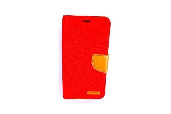 Samsung Galaxy S7 Edge spijkerstof portemonnee hoes met ruimte voor pasjes en brief geld rood