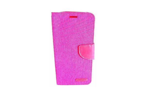 Samsung Galaxy S7 Edge spijkerstof portemonnee hoes met ruimte voor pasjes en brief geld roze