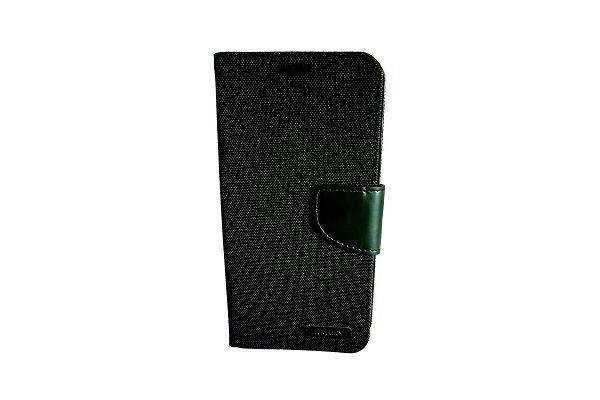 Samsung Galaxy S7 Edge spijkerstof portemonnee hoes met ruimte voor pasjes en brief geld zwart