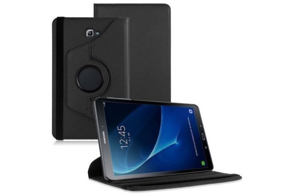 Samsung Galaxy Tab A 10.1 2016 PU leren Draaibare hoes Zwart