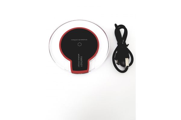 Luxury android Qi Wireless Charger Pad LED Mini zwart rood