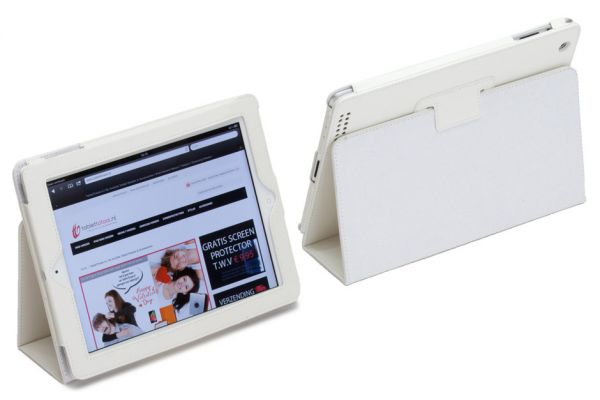 iPad 2-3-4 PU Leren Book Cover Wit