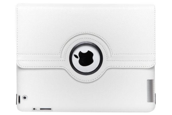 iPad 2-3-4 PU Leren Draaibare Hoes Wit